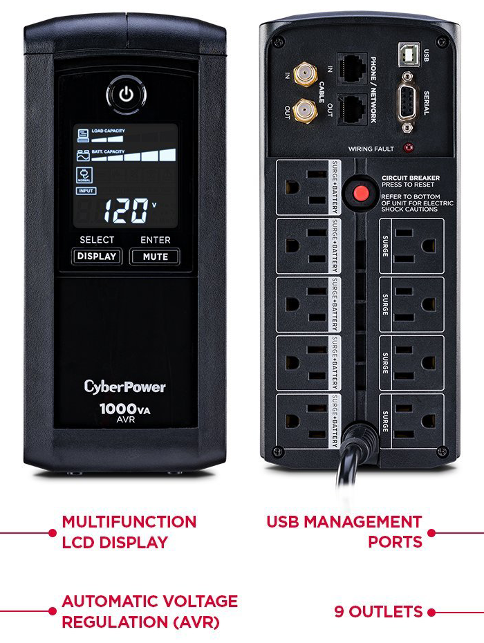 CyberPower 600W UPS Power Backup + Surge Protection