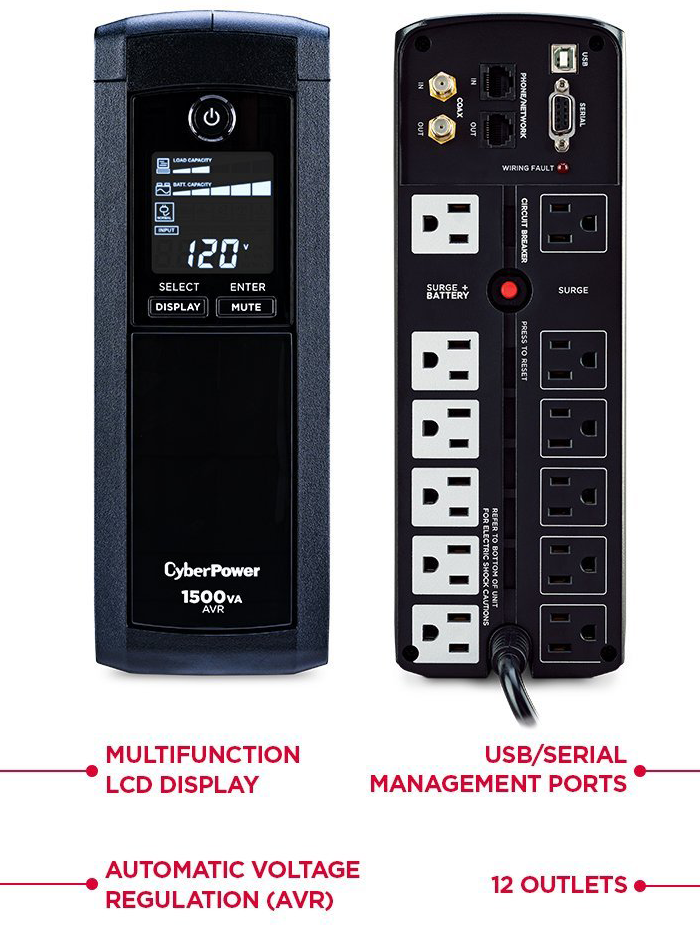 CyberPower 900W UPS Power Backup + Surge Protection